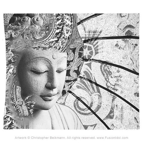 Black and White Buddha Tapestry - Bliss of Being - Tapestry - Fusion Idol Arts - New Mexico Artist Christopher Beikmann