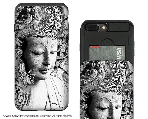 Bliss of Being-iPhone 7 Plus Credit Card Holder Case - Black and White Buddha Wallet Case for Apple iPhone 7 Plus - iPhone 7 Plus Card Holder Case - Fusion Idol Arts - New Mexico Artist Christopher Beikmann