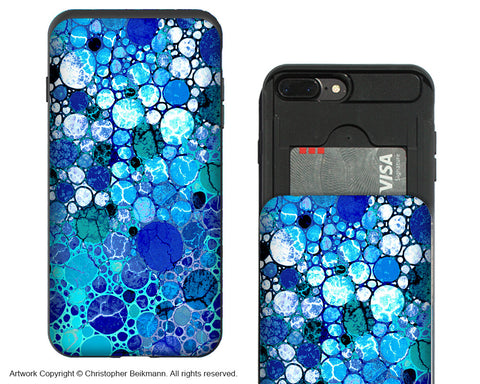 Blue Bubbles- iPhone 7 Plus Card Holder Case - Artistic Apple iPhone Wallet Compartment Case - iPhone 7 Plus Card Holder Case - Fusion Idol Arts - New Mexico Artist Christopher Beikmann