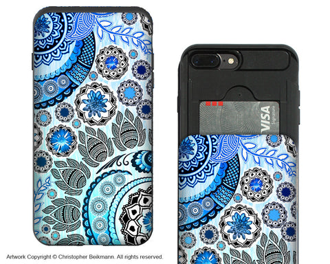 Blue Mehndi iPhone 7 Plus Card Holder Case - Floral Paisley Wallet Compartment Case for Apple iPhone 7 PLUS - iPhone 7 Plus Card Holder Case - Fusion Idol Arts - New Mexico Artist Christopher Beikmann