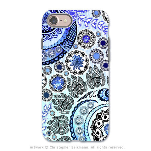 Blue Paisley Mehndi - Artistic iPhone 7 Tough Case - Dual Layer Protection - Blue Mehndi - iPhone 7 Tough Case - Fusion Idol Arts - New Mexico Artist Christopher Beikmann