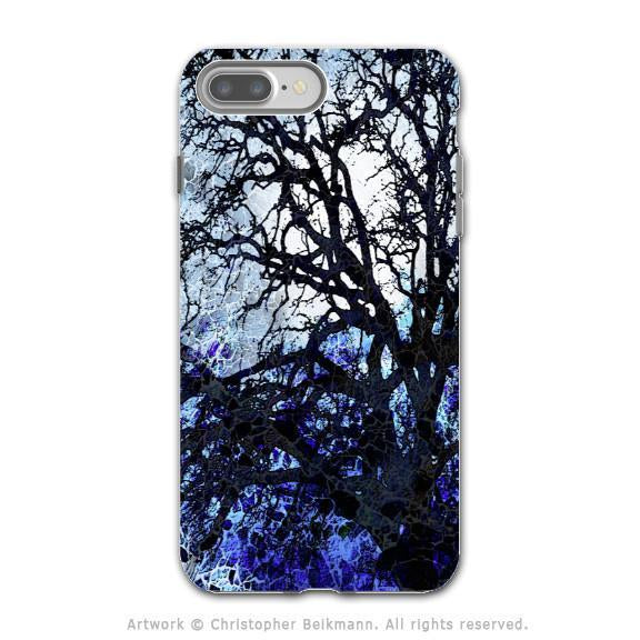 Blue Tree Abstract - Artistic iPhone 8 PLUS Tough Case - Dual Layer Protection - Moonlit Night - iPhone 8 Plus Tough Case - Fusion Idol Arts - New Mexico Artist Christopher Beikmann