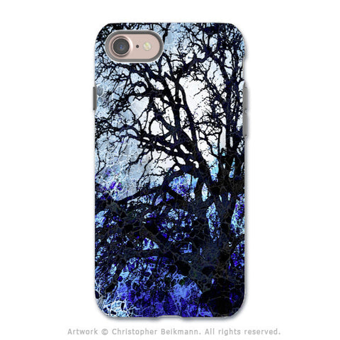 Blue Abstract Tree Art - Apple iPhone 8 Tough Case - Dual Layer Protection - Moonlit Night - iPhone 8 Tough Case - Fusion Idol Arts - New Mexico Artist Christopher Beikmann