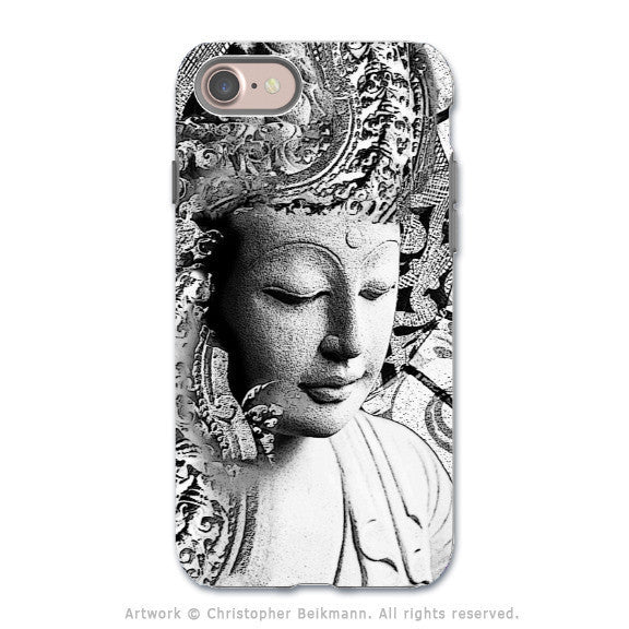 Black and White Buddha - Artistic iPhone 8 Tough Case - Zen Dual Layer Protection - Bliss of Being - iPhone 8 Tough Case - Fusion Idol Arts - New Mexico Artist Christopher Beikmann
