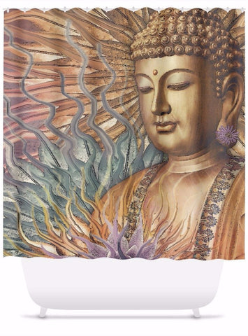 Buddha Shower Curtain - Orange, Teal and Lavender - Proliferation of Peace - Shower Curtain - Fusion Idol Arts - New Mexico Artist Christopher Beikmann