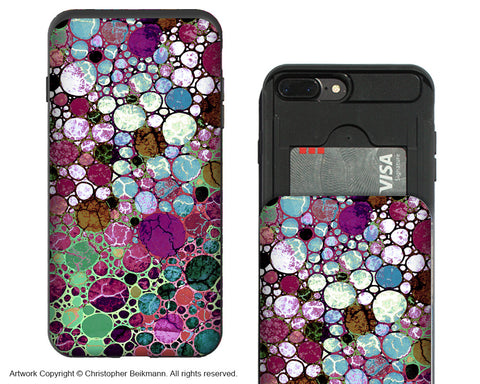 Berry Bubbles - Artistic iPhone 7 Plus Card Holder Case - Abstract Burgundy Wallet Compartment Case for Apple iPhone 7 PLUS - iPhone 7 Plus Card Holder Case - Fusion Idol Arts - New Mexico Artist Christopher Beikmann