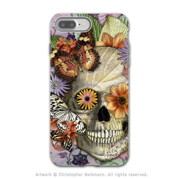 Butterfly Floral Skull - Artistic iPhone 8 PLUS Tough Case - Dual Layer Protection - Butterfly Botaniskull - iPhone 8 Plus Tough Case - Fusion Idol Arts - New Mexico Artist Christopher Beikmann