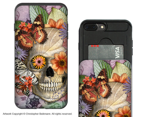 Butterfly Botaniskull iPhone 7 Plus Card Holder Case - Sugar Skull Wallet Compartment Case for iPhone 7 PLUS - iPhone 7 Plus Card Holder Case - Fusion Idol Arts - New Mexico Artist Christopher Beikmann