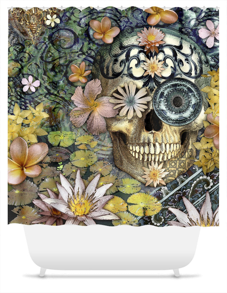 Bali Botaniskull Shower Curtain - Floral Sugar Skull Art - Shower Curtain - Fusion Idol Arts - New Mexico Artist Christopher Beikmann