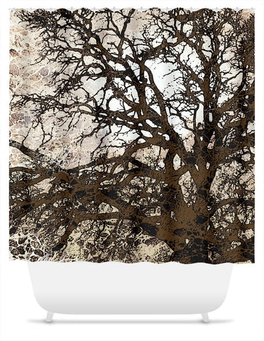 Autumn Moonlit Night - Tan and Brown Tree Silhouette Shower Curtain - Shower Curtain - Fusion Idol Arts - New Mexico Artist Christopher Beikmann