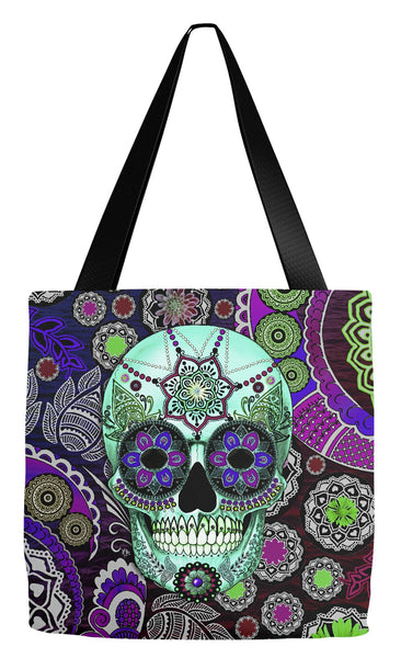 Purple Paisley Dia De Los Muertos Tote Bag - Sugar Skull Sombrero Night - Tote Bag - Fusion Idol Arts - New Mexico Artist Christopher Beikmann