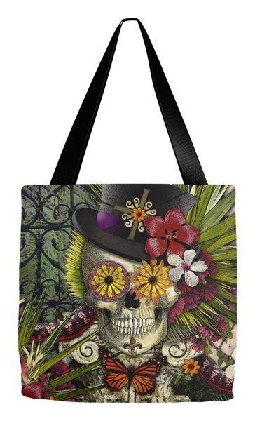 New Orleans Baron Samedi Sugar Skull Tote Bag - Baron in Bloom - Tote Bag - Fusion Idol Arts - New Mexico Artist Christopher Beikmann