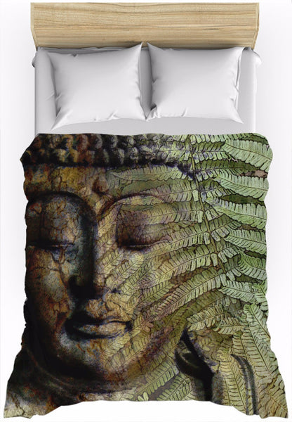 Green and Brown Fern Buddha Duvet Cover - Convergence of Thought - Duvet Cover - Fusion Idol Arts - New Mexico Artist Christopher Beikmann