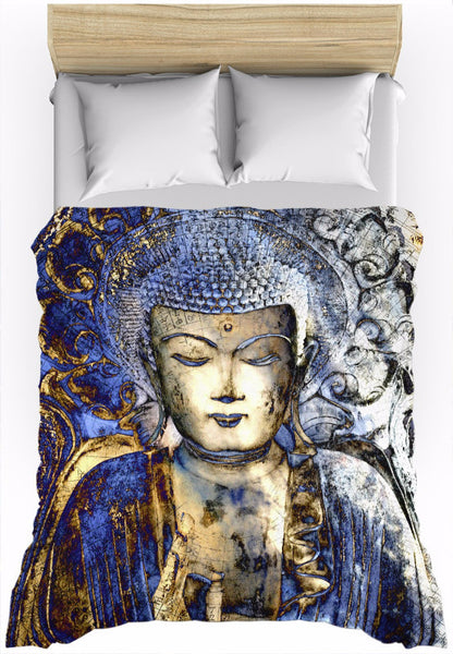 Blue Buddha Duvet Cover - Inner Guidance - Duvet Cover - Fusion Idol Arts - New Mexico Artist Christopher Beikmann