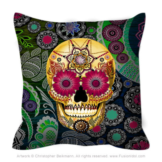 Colorful Floral Sugar Skull Throw Pillow - Sugar Skull Paisley Garden - Throw Pillow - Fusion Idol Arts - New Mexico Artist Christopher Beikmann