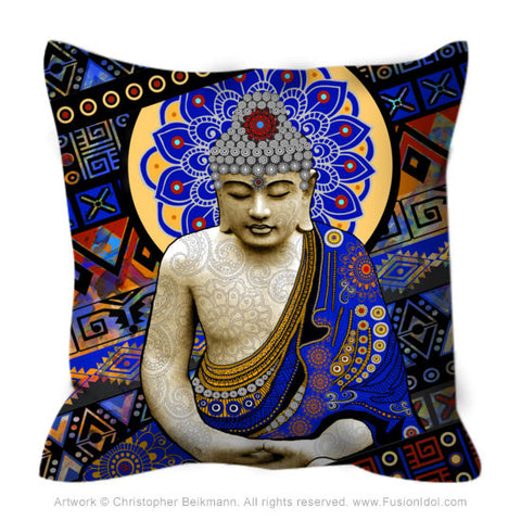Colorful Modern Buddha Throw Pillow - Rhythm of My Mind - Throw Pillow - Fusion Idol Arts - New Mexico Artist Christopher Beikmann