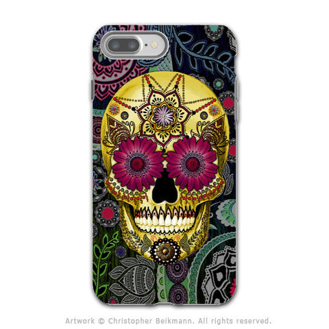 Colorful Paisley Sugar Skull - Artistic iPhone 7 PLUS - 7s PLUS Tough Case - Dual Layer Protection - Sugar Skull Paisley Garden - iPhone 7 Plus Tough Case - Fusion Idol Arts - New Mexico Artist Christopher Beikmann