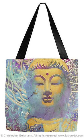 Colorful Buddha Art Tote Bag - The Light of Truth - Tote Bag - Fusion Idol Arts - New Mexico Artist Christopher Beikmann