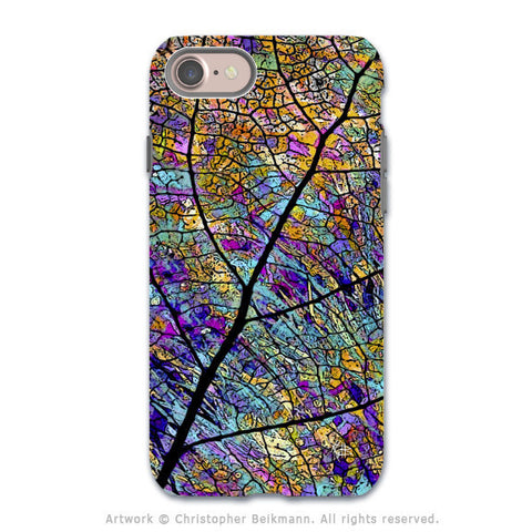 Colorful Aspen Leaf - Artistic iPhone 8 Tough Case - Dual Layer Protection - Stained Aspen - iPhone 8 Tough Case - Fusion Idol Arts - New Mexico Artist Christopher Beikmann