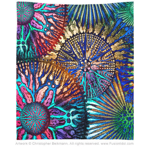 Cosmic Star Coral Abstract Art Tapestry - Fusion Idol Arts