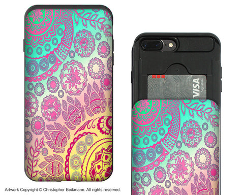 Cotton Candy Mehndi - Pastel Paisley iPhone 7 Plus Card Holder Case - Artistic Wallet Compartment Case for Apple iPhone 7 PLUS - iPhone 7 Plus Card Holder Case - Fusion Idol Arts - New Mexico Artist Christopher Beikmann