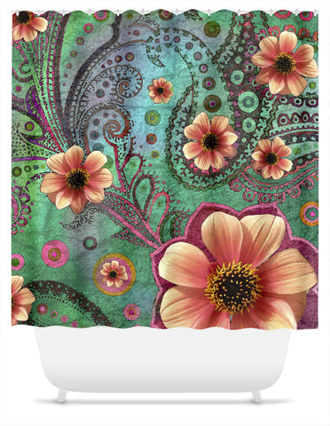 Green and Orange Paisley Shower Curtain - Paisley Paradise, Shower Curtain - Christopher Beikmann
