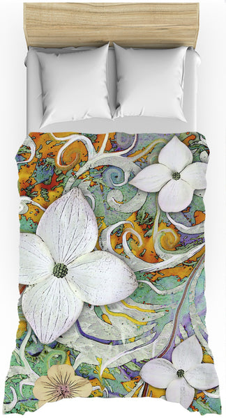 Spring Turquoise and Orange Floral Duvet Cover - Sangria Flora - Duvet Cover - Fusion Idol Arts - New Mexico Artist Christopher Beikmann