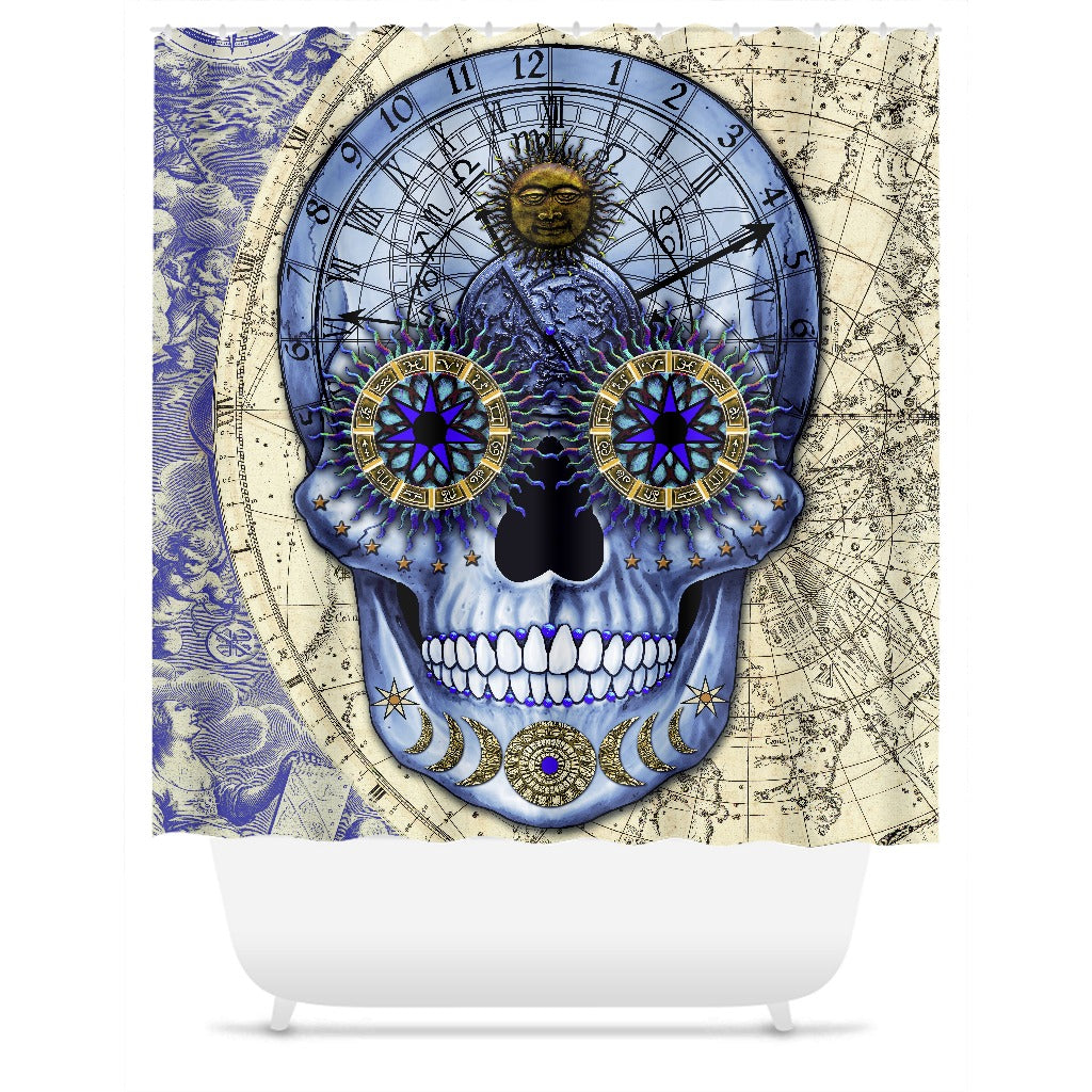 Astrologiskull - Steampunk Astrology Sugar Skull Shower Curtain -  - Fusion Idol Arts - New Mexico Artist Christopher Beikmann