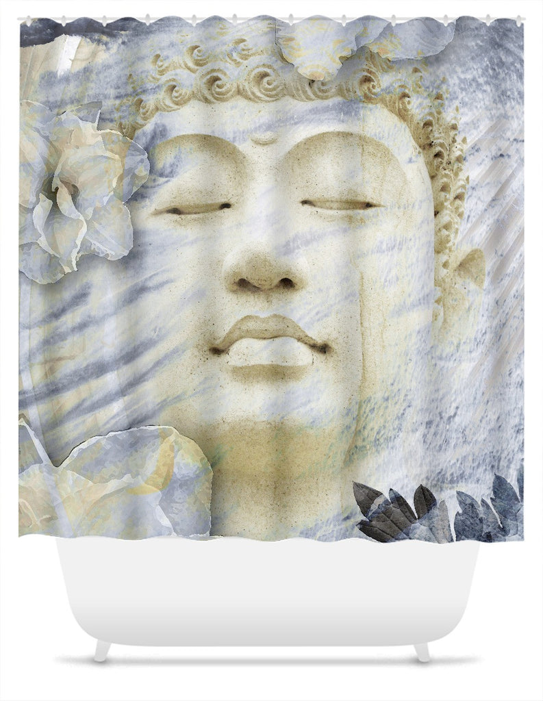 Buddha Shower Curtain Tan and Blue - Inner Infinity - Shower Curtain - Fusion Idol Arts - New Mexico Artist Christopher Beikmann