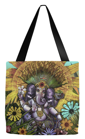 Colorful Ganesha Floral Art Tote Bag - Ganesha Maya - Tote Bag - Fusion Idol Arts - New Mexico Artist Christopher Beikmann
