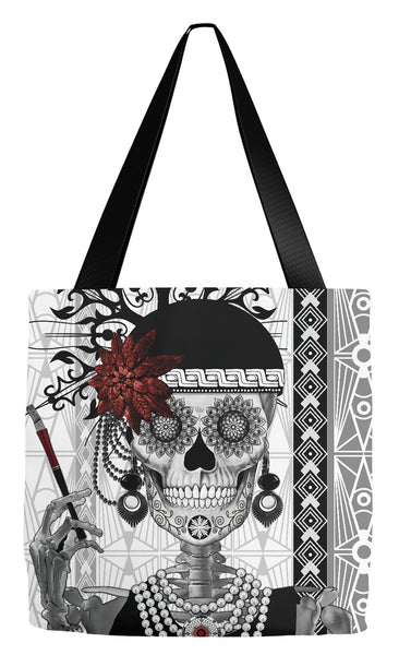 Flapper Girl Sugar Skull Tote Bag - Dia De Los Muertos Bag - Mrs Gloria Vanderbone - Tote Bag - Fusion Idol Arts - New Mexico Artist Christopher Beikmann