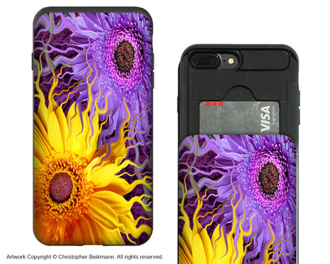 Daisy Yin Daisy Yang iPhone 7 Plus Card Holder Case - Purple and Yellow Floral Wallet Case for Apple iPhone 7 Plus - iPhone 7 Plus Card Holder Case - Fusion Idol Arts - New Mexico Artist Christopher Beikmann