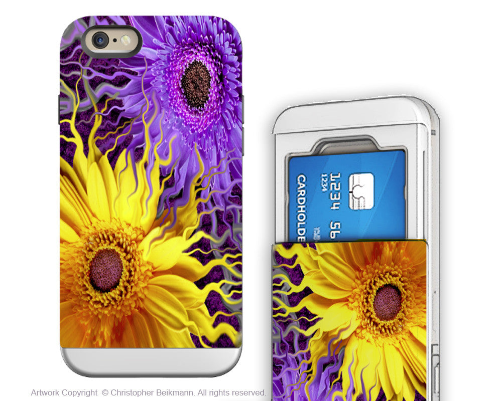 Purple and Yellow Daisy - Artistic iPhone 6 6s Case - Cardholder Case - daisy yin daisy yang - iPhone 6 6s Card Holder Case - Fusion Idol Arts - New Mexico Artist Christopher Beikmann