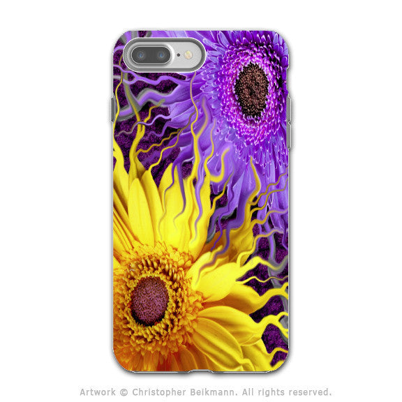Purple and Yellow Daisy - Artistic iPhone 7 PLUS - 7s PLUS Tough Case - Dual Layer Protection - Daisy Yin Daisy Yang - iPhone 7 Plus Tough Case - Fusion Idol Arts - New Mexico Artist Christopher Beikmann
