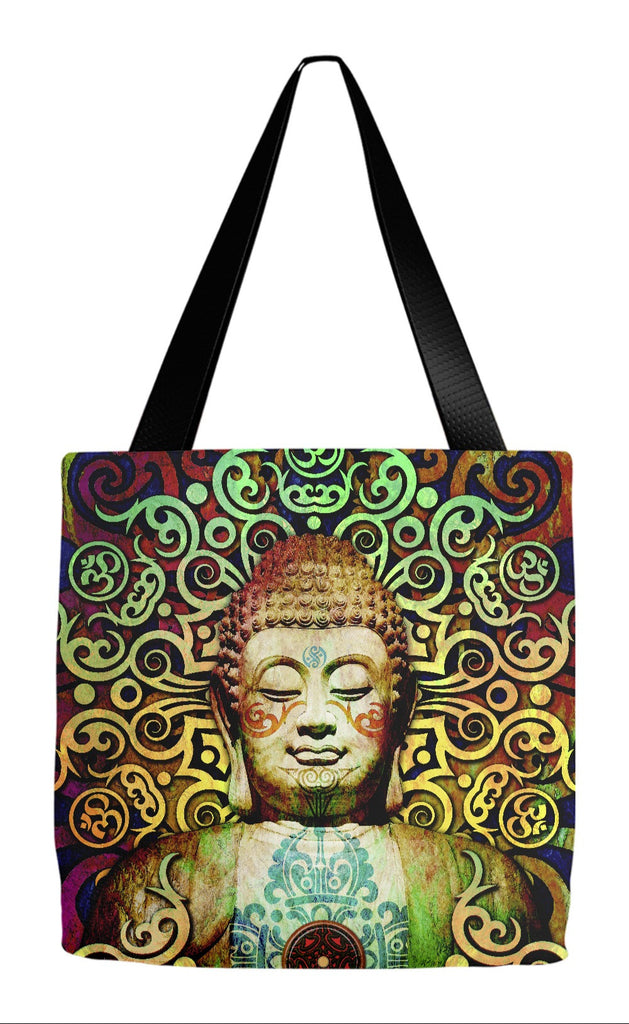 Tribal Buddha Om Tote Bag - Tribal Transcendence - Tote Bag - Fusion Idol Arts - New Mexico Artist Christopher Beikmann