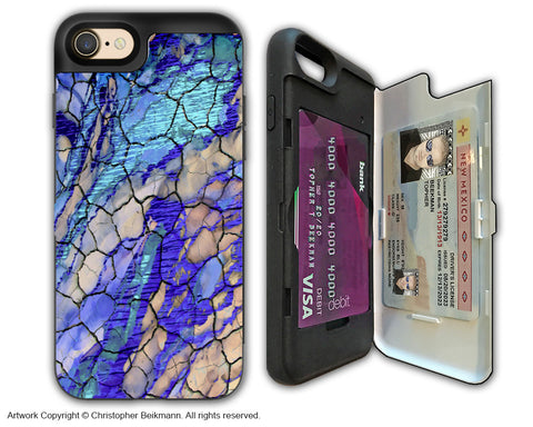 Blue Desert Abstract - Artistic Apple iPhone 7 Card Holder Case - Protective Wallet Case - desert memories - iPhone 7 Card Holder Case - Fusion Idol Arts - New Mexico Artist Christopher Beikmann