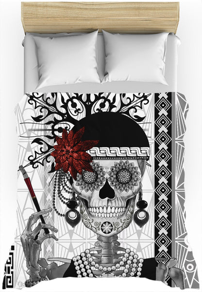 Flapper Girl Sugar Skull Duvet Cover - Mrs Gloria Vanderbone - Duvet Cover - Fusion Idol Arts - New Mexico Artist Christopher Beikmann