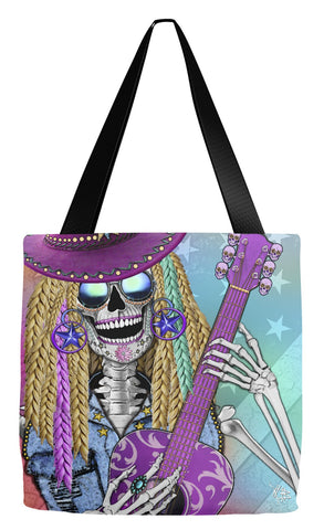 Country Girl Sugar Skull Tote Bag - Day of the Dead - Scary Underwood - Tote Bag - Fusion Idol Arts - New Mexico Artist Christopher Beikmann