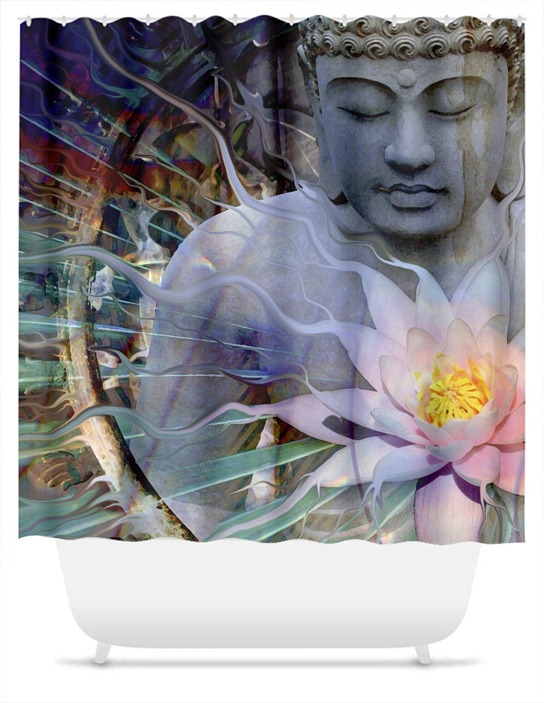 Living Radiance Buddha Shower Curtain - Shower Curtain - Fusion Idol Arts - New Mexico Artist Christopher Beikmann