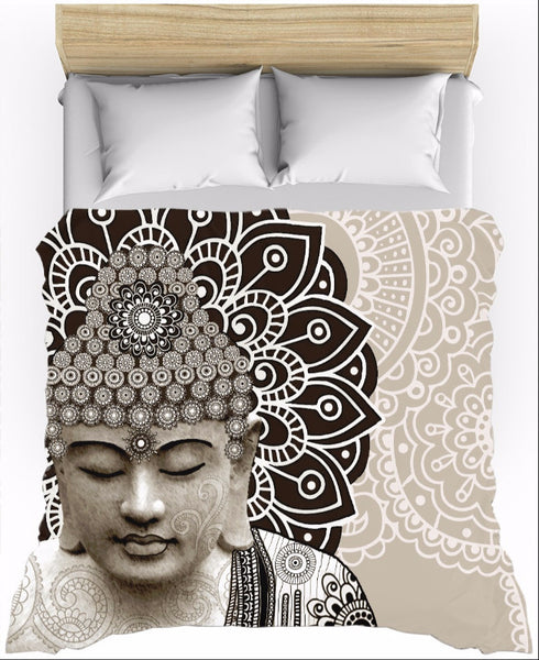 Tan and Brown Paisley Buddha Duvet Cover - Meditation Mehdni - Duvet Cover - Fusion Idol Arts - New Mexico Artist Christopher Beikmann