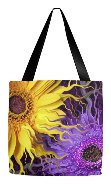 Purple and Yellow Daisy Art Tote Bag - Daisy Yin Daisy Yang - Tote Bag - Fusion Idol Arts - New Mexico Artist Christopher Beikmann