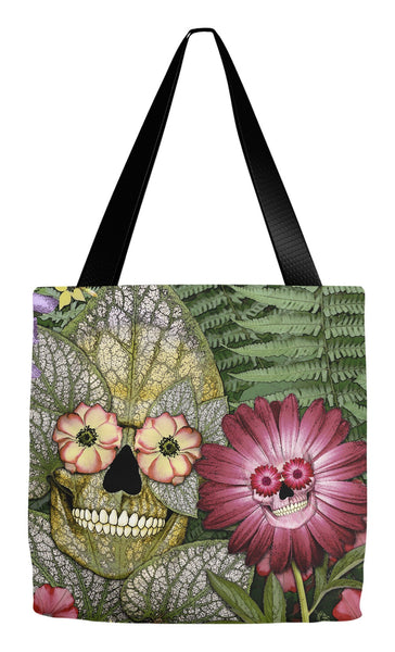 Reincarnation Garden Skull Tote Bag - Born Again - Tote Bag - Fusion Idol Arts - New Mexico Artist Christopher Beikmann