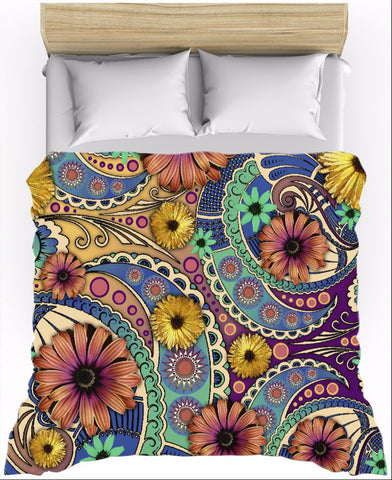 Colorful Floral Lightweight Duvet Cover - Petals and Paisley - Duvet Cover - Fusion Idol Arts - New Mexico Artist Christopher Beikmann
