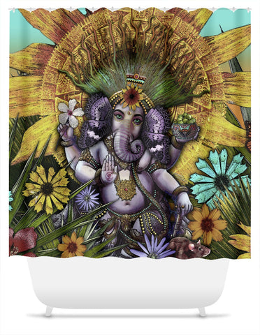 Colorful Ganesha Floral Shower Curtain - Ganesha Maya - Shower Curtain - Fusion Idol Arts - New Mexico Artist Christopher Beikmann
