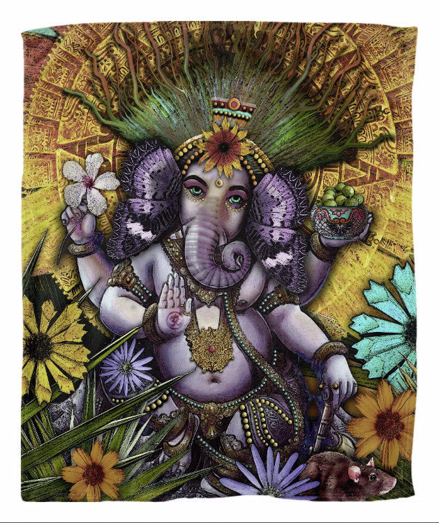 Ganesha Hindu Mayan Floral Art Fleece Blanket - Ganesha Maya - Fleece Blanket - Fusion Idol Arts - New Mexico Artist Christopher Beikmann