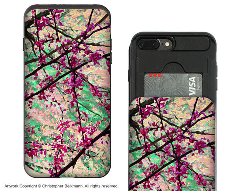 Eternal Spring iPhone 7 Plus Card Holder Case - Pastel Floral Wallet Case for Apple iPhone 7 Plus - iPhone 7 Plus Card Holder Case - Fusion Idol Arts - New Mexico Artist Christopher Beikmann