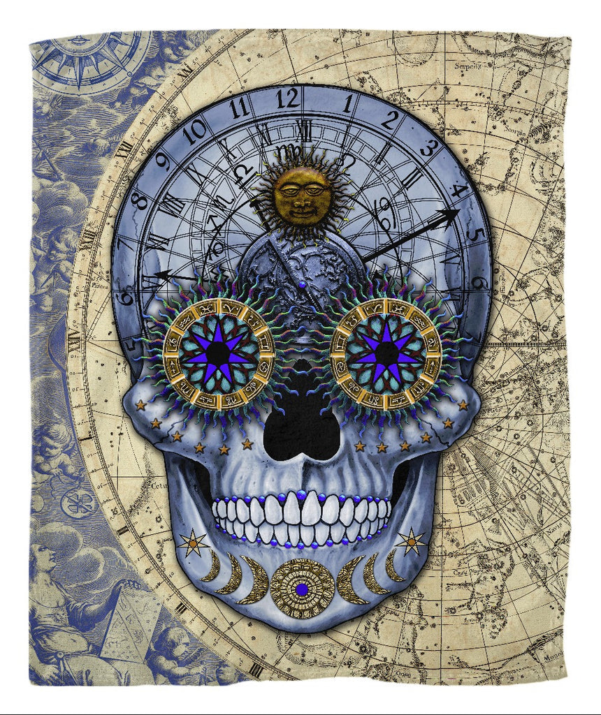 Steampunk Astrology Skull Fleece Blanket - Astrologiskull - Fleece Blanket - Fusion Idol Arts - New Mexico Artist Christopher Beikmann