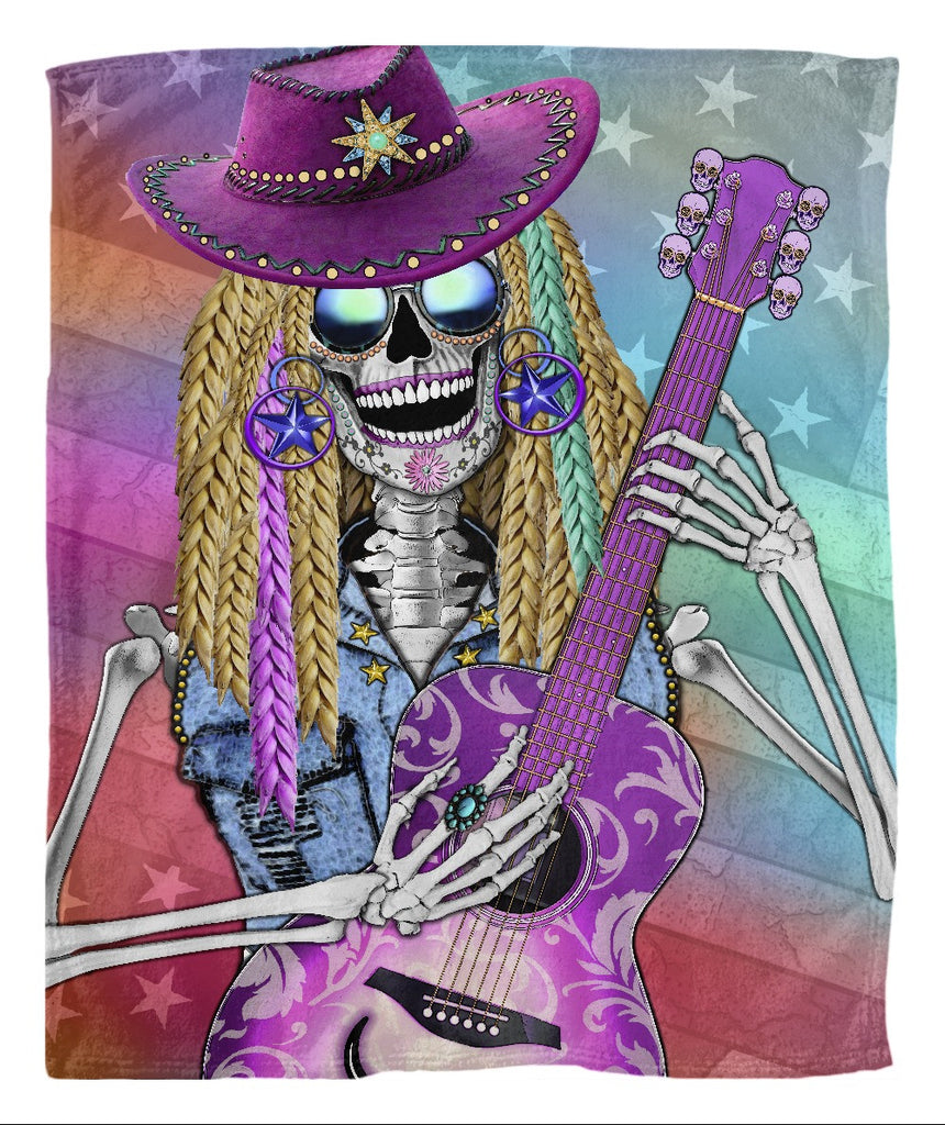 Country Western Diva Sugar Skull Fleece Blanket - Scary Underwood - Fleece Blanket - Fusion Idol Arts - New Mexico Artist Christopher Beikmann