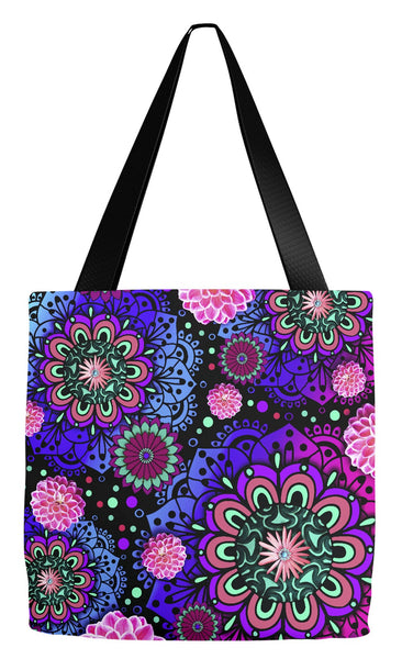 Paisley Pink, Blue and Purple Modern Floral Tote Bag - Frilly Floratopia - Tote Bag - Fusion Idol Arts - New Mexico Artist Christopher Beikmann