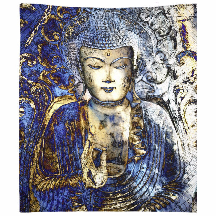 Inner Guidance Blue Buddha Art Tapestry - Tapestry - Fusion Idol Arts - New Mexico Artist Christopher Beikmann